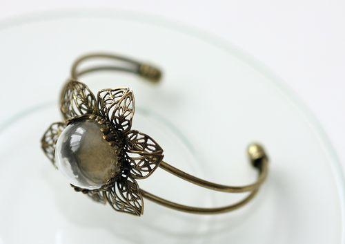 Набор браслет-ЦВЕТОЧЕК со стеклянным украшением 20мм