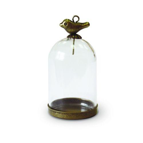 Набор стеклянный мини-колпак с птичкой 28х38 мм