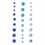 Стразы клеевые набор Полушар голубой