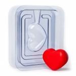 Форма пластиковая Сердечко 3D - 2 половинки