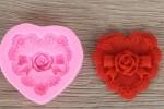Форма силиконовая Сердце с ажурной розой
